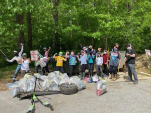 Stream clean-up at Loch Raven Library